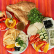 Traditional Turkish breakfast on fabric background — Stock Photo #38359359