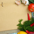 Cooking concept. Groceries with empty cookbook close up — Stock Photo #38367737