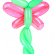 Simple balloon animal dragonfly, isolated on white — Stock Photo