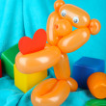 Simple balloon animal bear, on bright background — Stock Photo