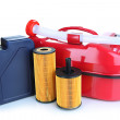 Stock Photo: Diesel and oil canisters isolated on white