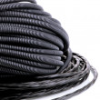 Stock Photo: Black cables close-up isolated on white