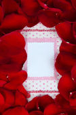 Frame of rose petals on card background close-up — Stock Photo