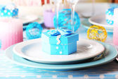 Table serving with colorful tableware close-up — Stock Photo