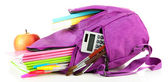 Purple backpack with school supplies isolated on white — Стоковое фото
