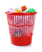 Full garbage bin, isolated on white — Stock Photo
