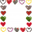 Stock Photo: Frame of different hearts isolated on white