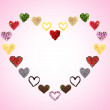 Collage of heart-shaped things on pink background — Stock Photo