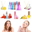 Collage of beautiful women and luxury perfumes — Stock Photo #38389993