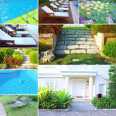 Collage with different photos of luxury touristic hotel — Stock Photo