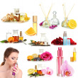 Collage of beautiful womand luxury perfumes — Stock Photo #38390045