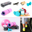 Stock Photo: Fitness equipment collage