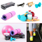Fitness equipment collage — Stock Photo