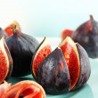 Stock Photo: Tasty figs with ham on plate