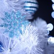 Stock Photo: White Christmas tree on bokeh background