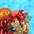 Composition of Christmas balls on blue background — Stock Photo #38460923