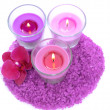Stock Photo: Beautiful colorful candles, orchid flower, sea salt isolated on white