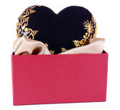 Gift box and decorative heart, isolated on white — Stock Photo
