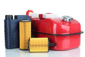 Diesel and oil canisters isolated on white — Stock Photo