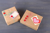 Paper gift boxes on wooden background — Foto de Stock
