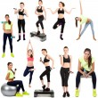 Young woman exercising collage isolated on white — Stock Photo #38559289