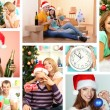 Collage of people celebrating Christmas at home — Stock Photo
