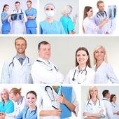 Colagem da equipe médica no ambiente de trabalho — Foto Stock