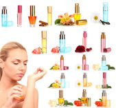 Collage of beautiful woman and luxury perfumes — Stock Photo