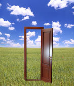 Open door to new life on the field — Stock Photo