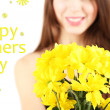 Young beautiful girl with nice flowers in her hand, isolated on white — Stock Photo #38594999