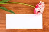 Mooie tulip en kaart op houten achtergrond — Stockfoto