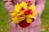 Bouquet of yellow leaves in hands — Stockfoto