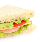 Fresh and tasty sandwich isolated on white — Stock Photo