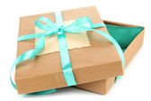 Present box tied with ribbon, isolated on white — Stock Photo