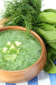Tasty spinach soup, close up — Stock Photo