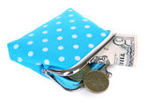 Blue purse with money isolated on white — Stock Photo