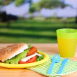 Tasty sandwich with cutlet on color plastic plate on bright background — Stock Photo #38635969