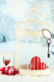 Heart in decorative cage on winter background — Stock Photo