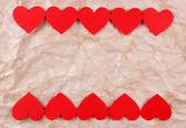 καρδιές χαρτί σε φόντο του χαρτιού — Φωτογραφία Αρχείου