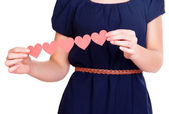 Hands holding paper hearts isolated on white — Foto Stock