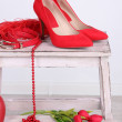 Beautiful red female accessories — Stock Photo #38683479
