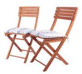 白で隔離されるクッションが付いている椅子 — ストック写真