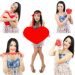 Collage of Valentine's Day. Attractive young woman with heart. — Stock Photo