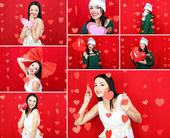 Collage of Valentine's Day. Attractive young woman. — Stock Photo