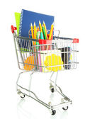 Trolley with school equipment isolated on white — Stock Photo