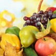 Different fruits and vegetables with yellow leaves in basket on table on bright background — Stock Photo #38811761
