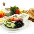 Traditional Turkish breakfast isolated on white — Stock Photo
