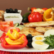 Traditional Turkish breakfast on table on brown background — Stock Photo #38812323