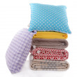 Stock Photo: Colorful pillows and plaids isolated on white