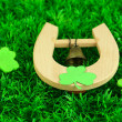 Stock Photo: Horseshoe and clover on grass close-up